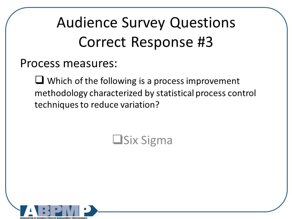 Audience Survey Questions Correct Response #3