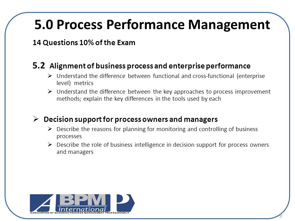 5.0 Process Performance Management