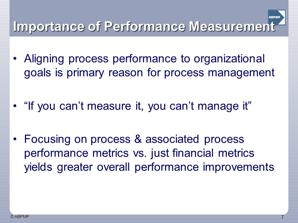 Importance of Performance Measurement