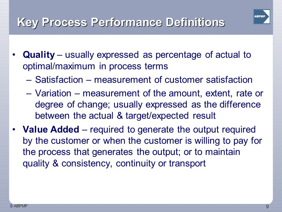 Key Process Performance Definitions