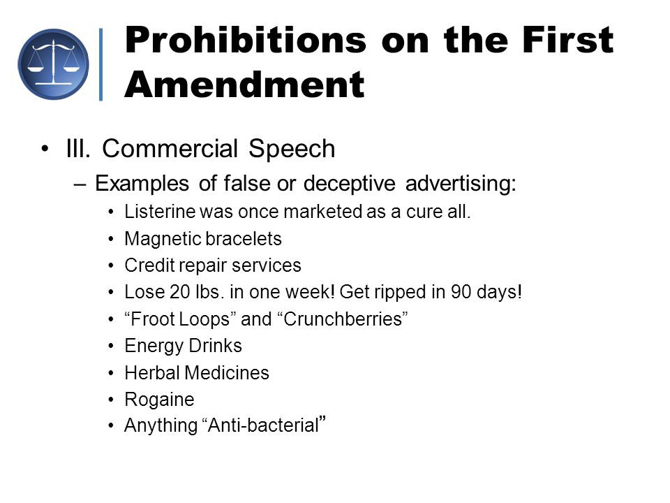 deceptive commercial speech and advertising Home / bar resources / washington lawyer / commercial speech and the evolution of  commercial advertising should have some first amendment protection because it.
