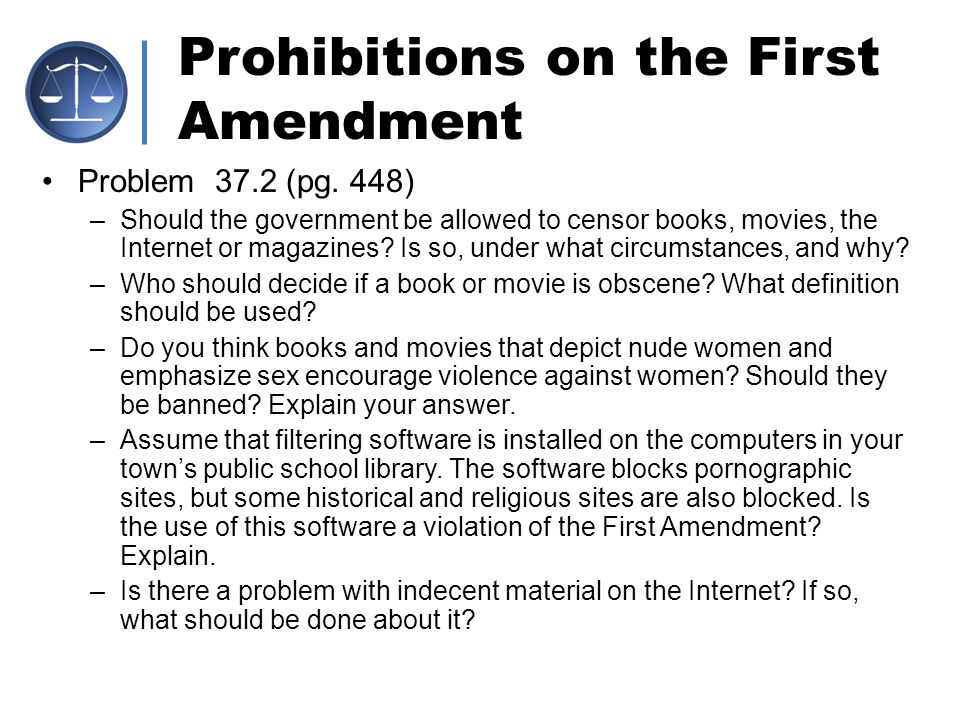 Prohibitions on the First Amendment