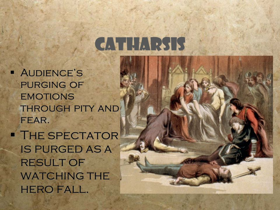 Catharsis Audience's purging of emotions through pity and fear.