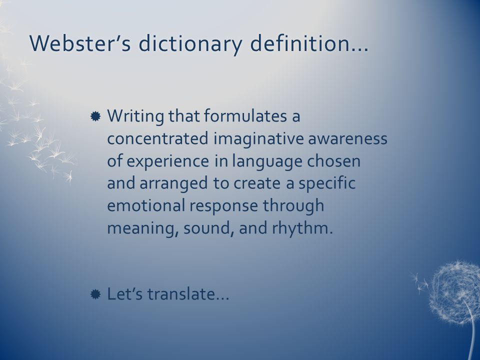 Webster's dictionary definition…