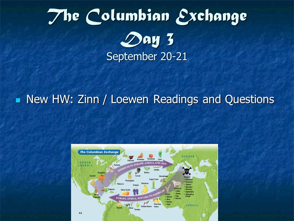 The Columbian Exchange Day 3 September 20-21