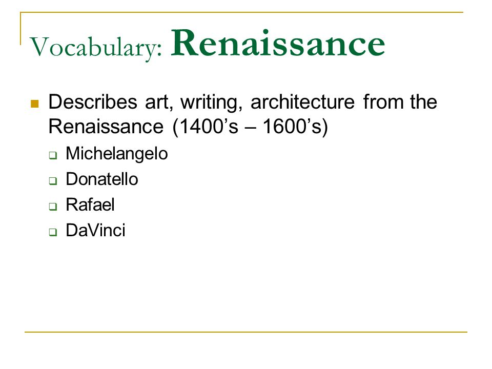 Vocabulary: Renaissance
