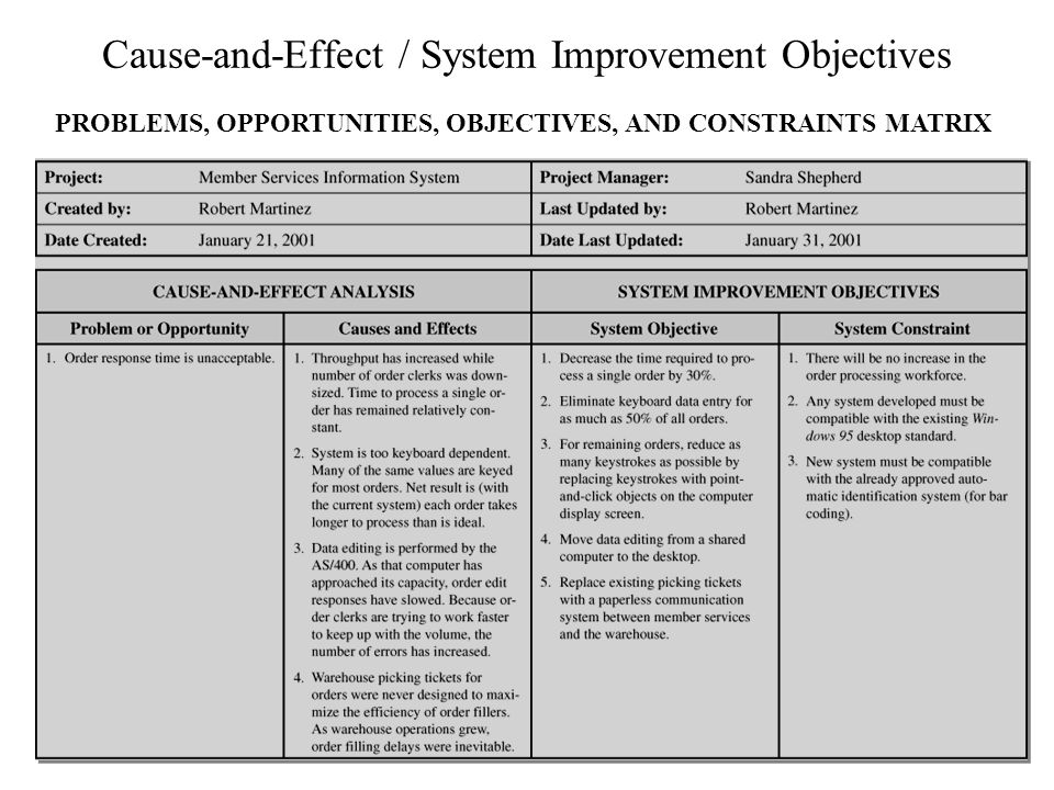 Cause-and-Effect / System Improvement Objectives