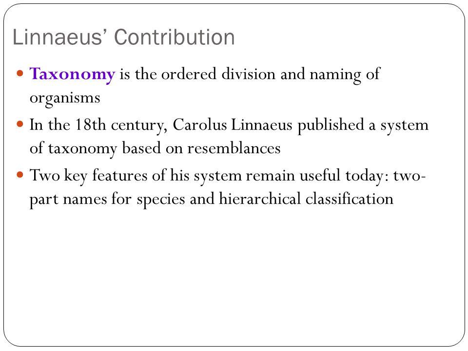 Linnaeus' Contribution