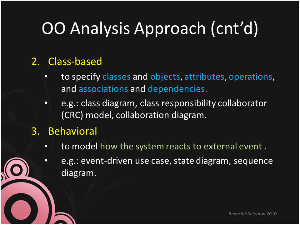 OO Analysis Approach (cnt'd)