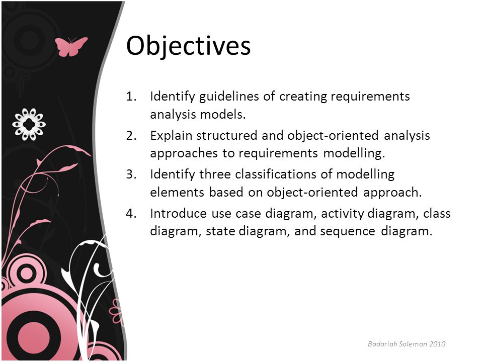Objectives Identify guidelines of creating requirements analysis models.
