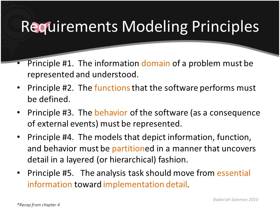 Requirements Modeling Principles