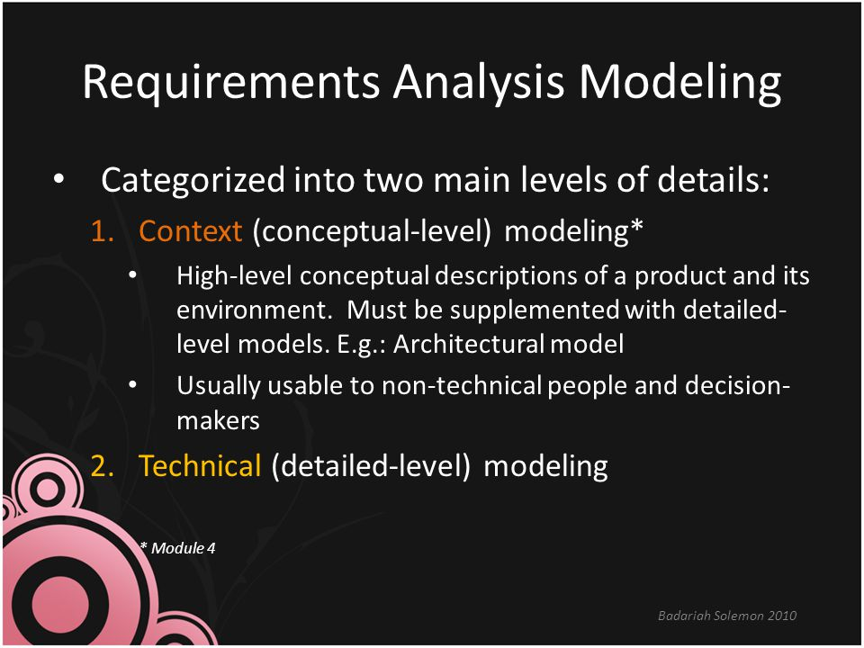 Requirements Analysis Modeling