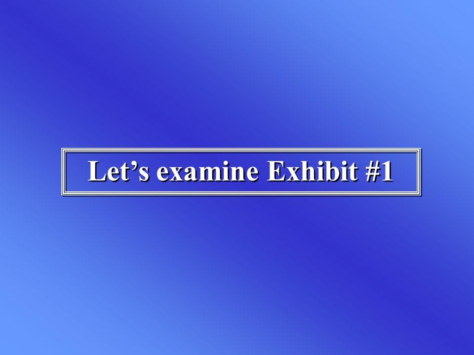 Let's examine Exhibit #1