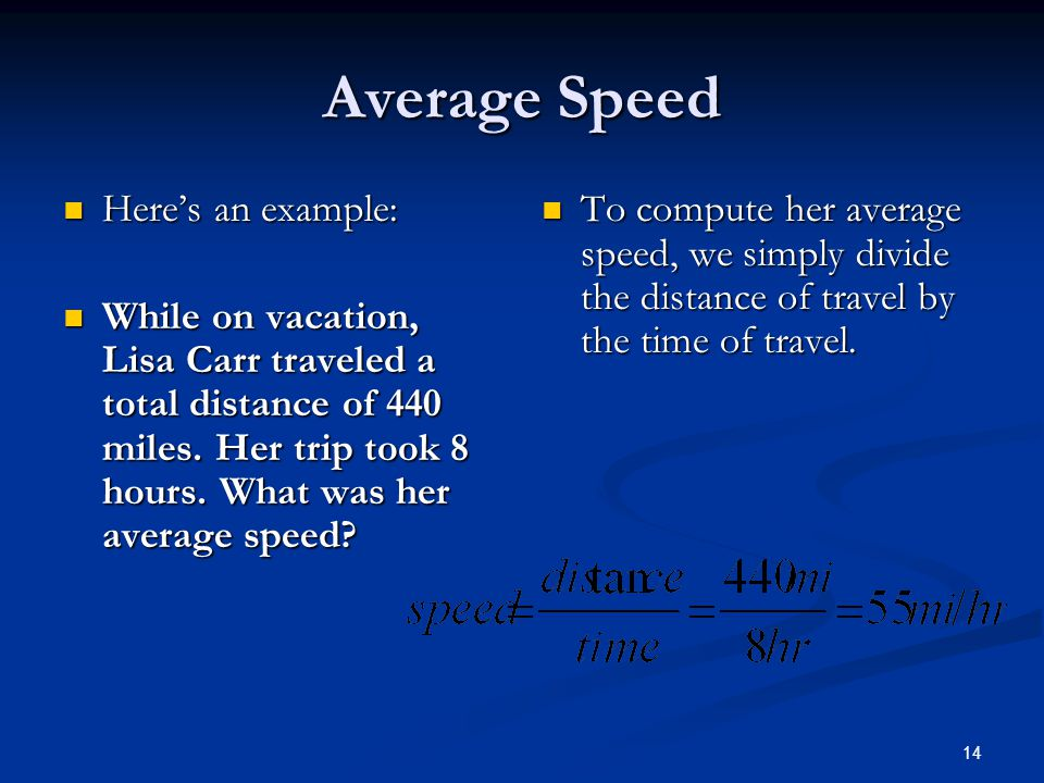 Average Speed Here's an example: