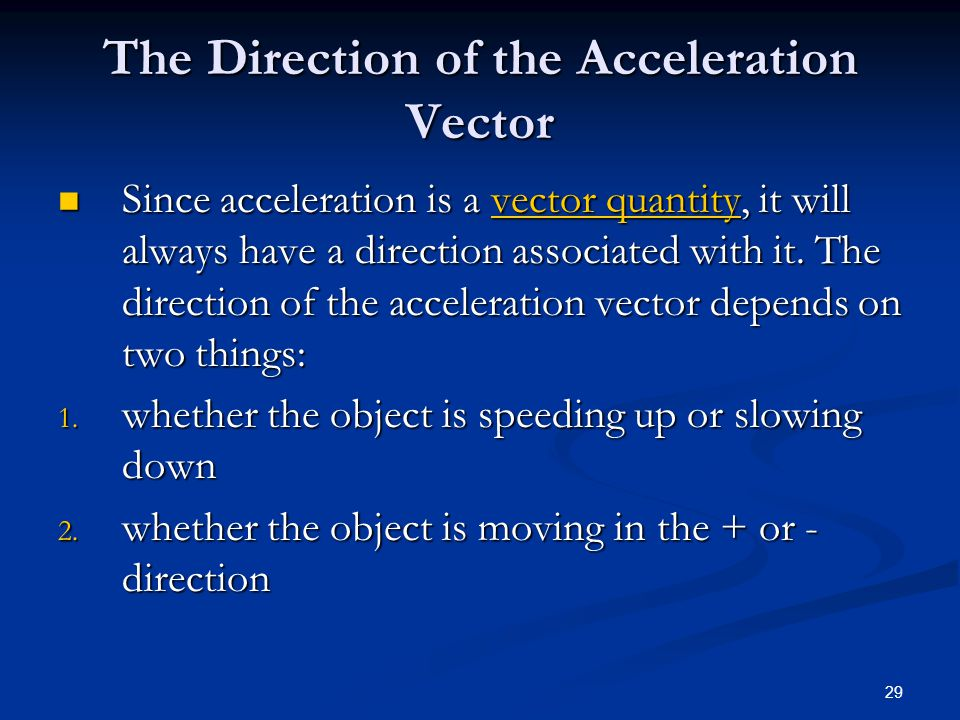 The Direction of the Acceleration Vector