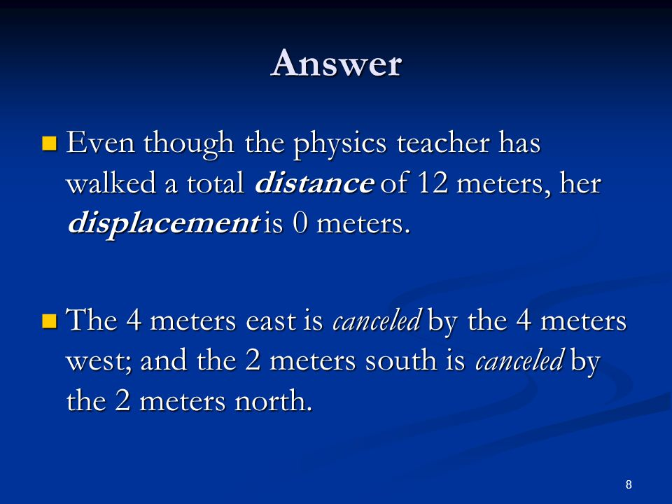 Answer Even though the physics teacher has walked a total distance of 12 meters, her displacement is 0 meters.