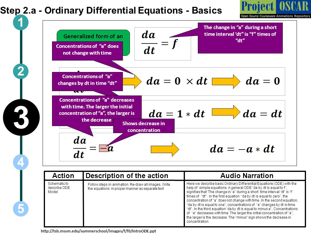 3 1 2 4 5 Step 2.a - Ordinary Differential Equations - Basics Action