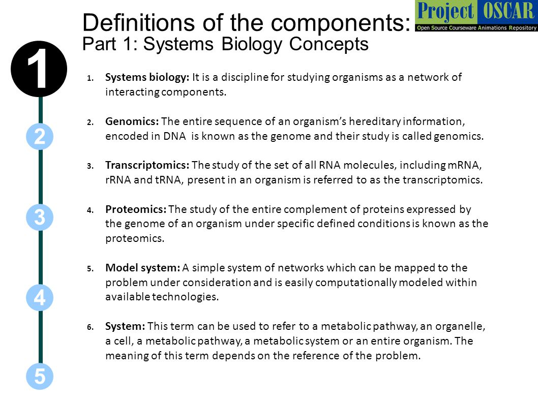 Definitions of the components: Part 1: Systems Biology Concepts