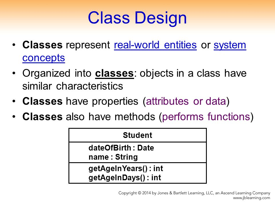 Class Design Classes represent real-world entities or system concepts