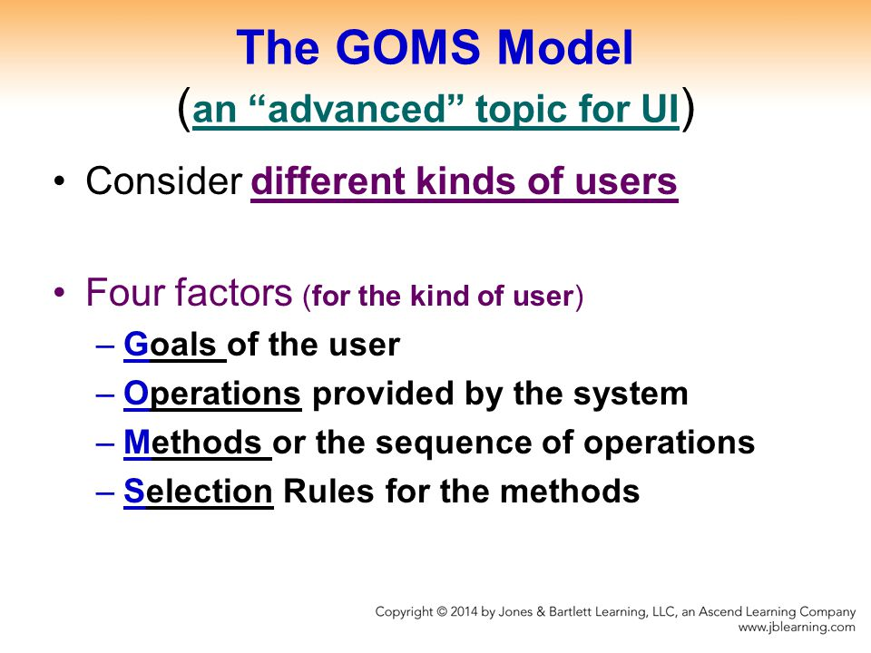 The GOMS Model (an advanced topic for UI)