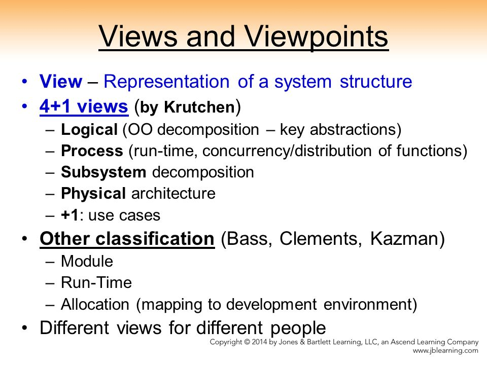 Views and Viewpoints View – Representation of a system structure