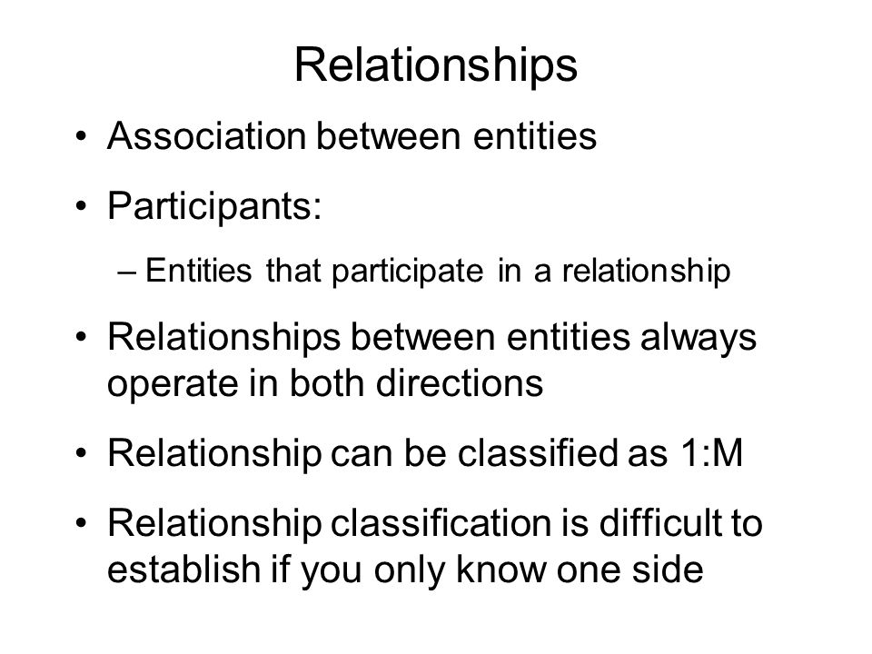 Relationships Association between entities Participants: