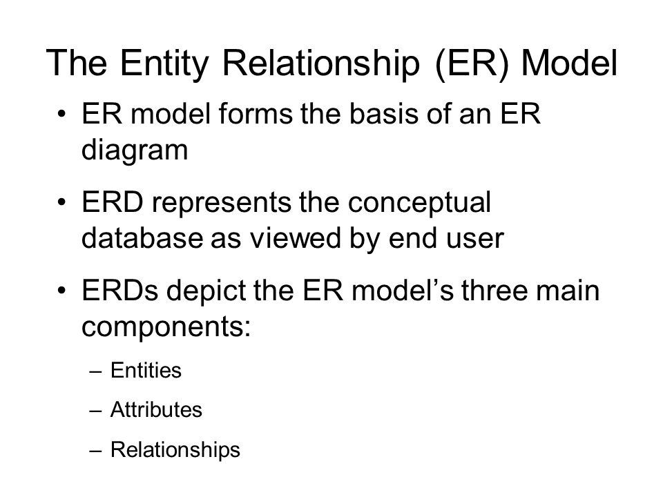 The Entity Relationship (ER) Model