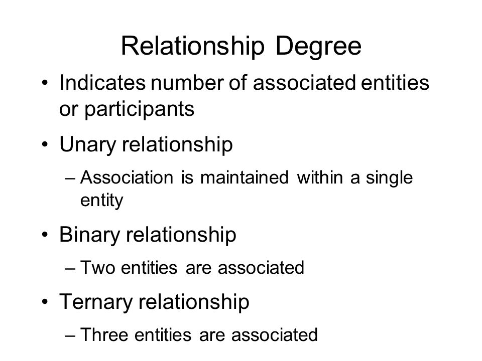 Relationship Degree Indicates number of associated entities or participants. Unary relationship. Association is maintained within a single entity.