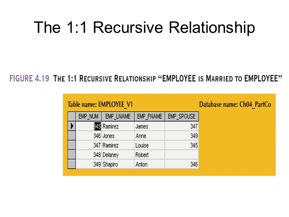 The 1:1 Recursive Relationship