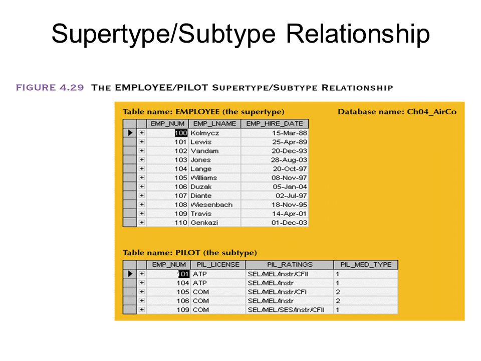 Supertype/Subtype Relationship
