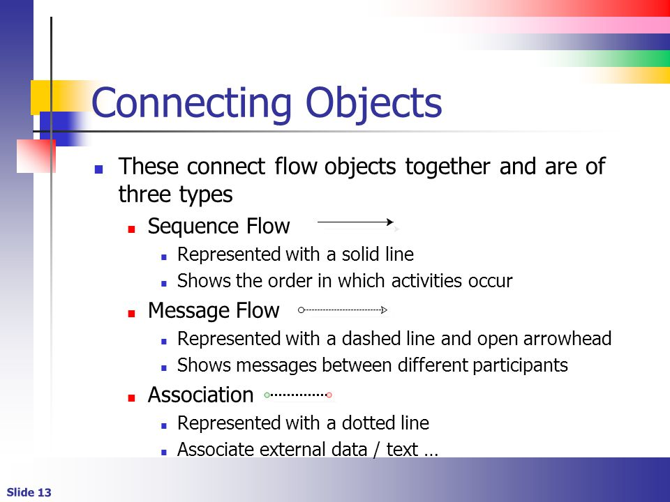 Connecting Objects These connect flow objects together and are of three types. Sequence Flow. Represented with a solid line.