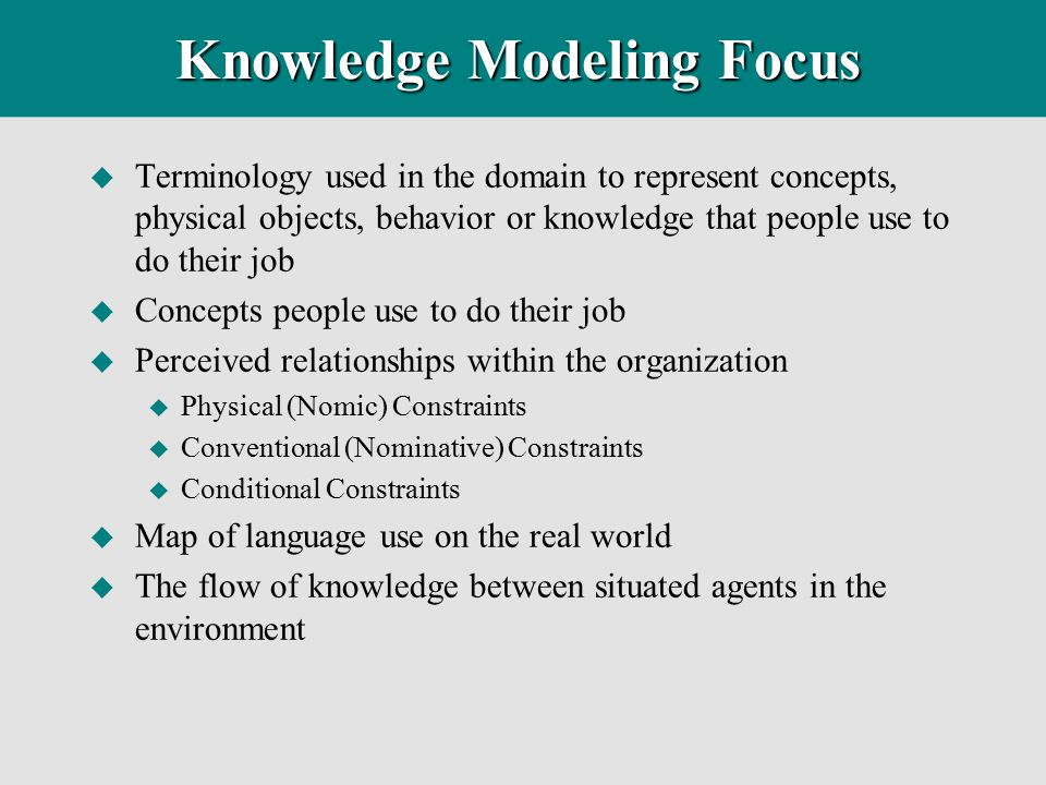 Knowledge Modeling Focus