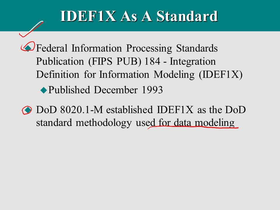 IDEF1X As A Standard Federal Information Processing Standards Publication (FIPS PUB) 184 - Integration Definition for Information Modeling (IDEF1X)
