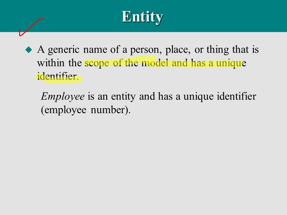 Entity A generic name of a person, place, or thing that is within the scope of the model and has a unique identifier.