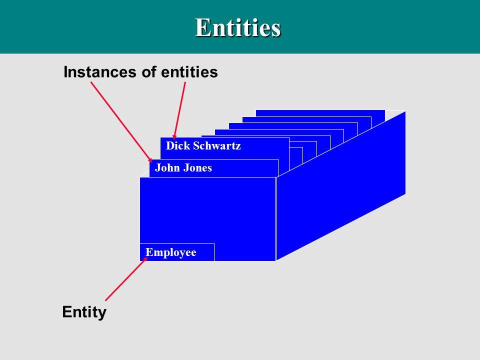 Entities Instances of entities Entity Dick Schwartz John Jones