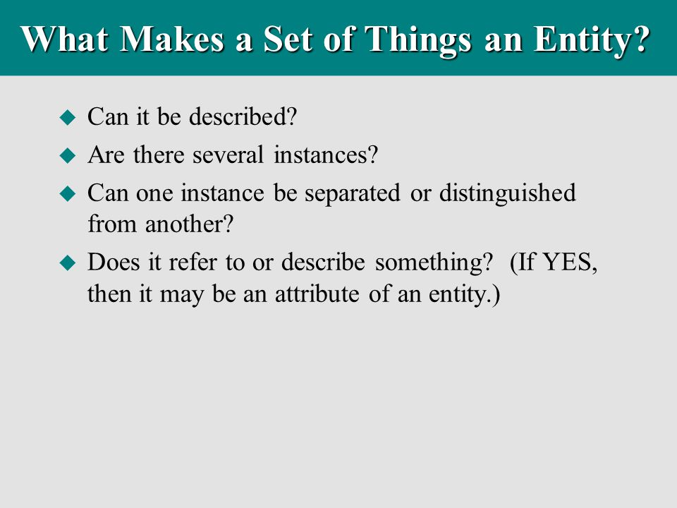 What Makes a Set of Things an Entity