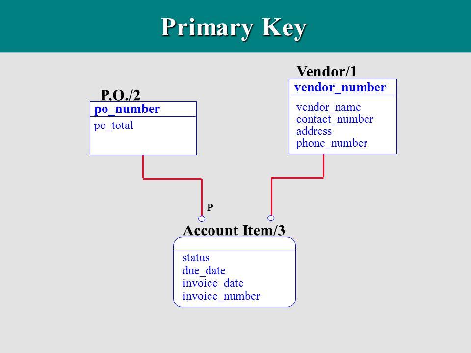 Primary Key Vendor/1 P.O./2 Account Item/3 vendor_number po_number