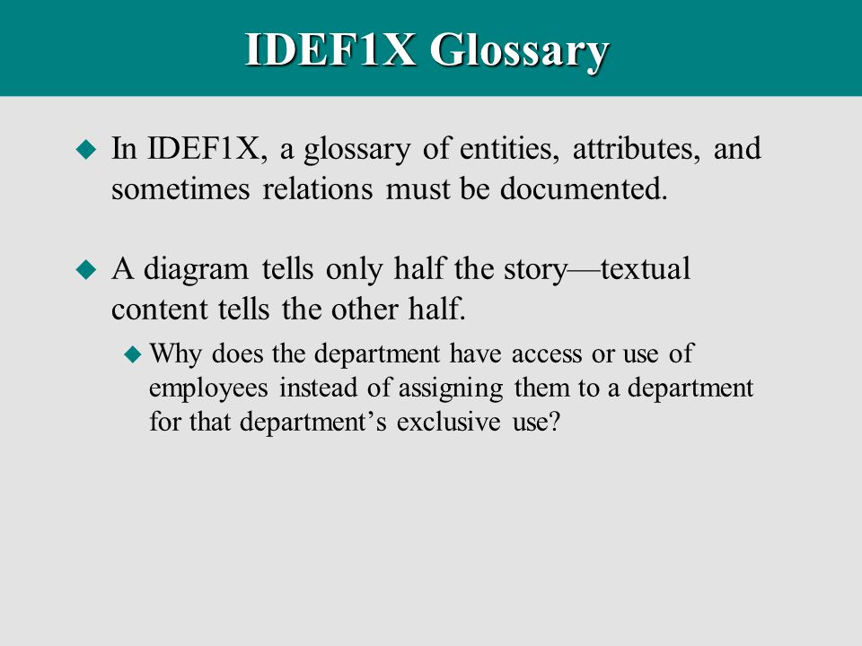 IDEF1X Glossary In IDEF1X, a glossary of entities, attributes, and sometimes relations must be documented.