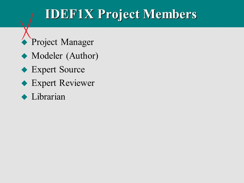 IDEF1X Project Members Project Manager Modeler (Author) Expert Source