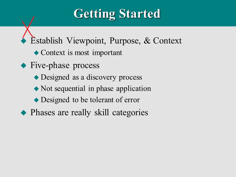 Getting Started Establish Viewpoint, Purpose, & Context