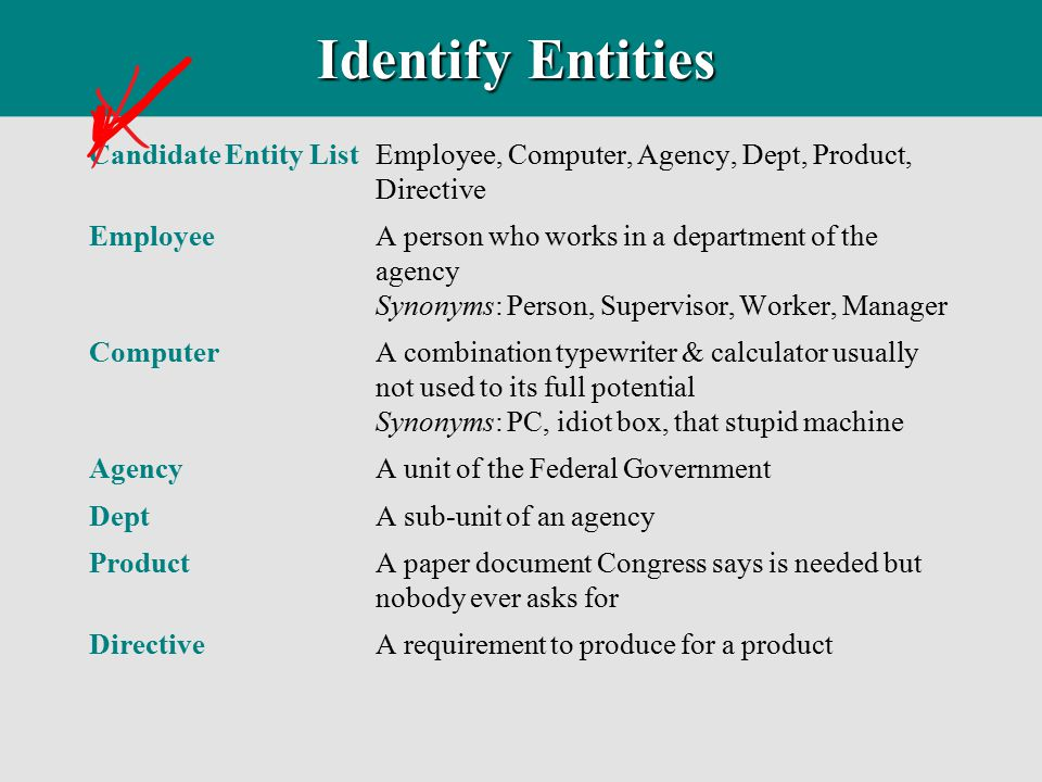 Identify Entities Candidate Entity List Employee, Computer, Agency, Dept, Product, Directive.