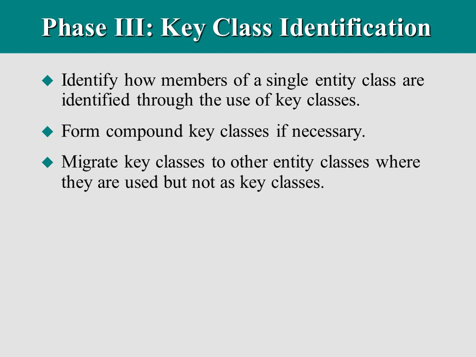 Phase III: Key Class Identification