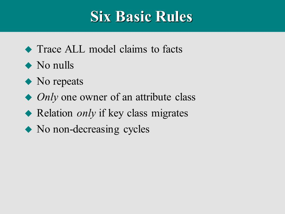 Six Basic Rules Trace ALL model claims to facts No nulls No repeats