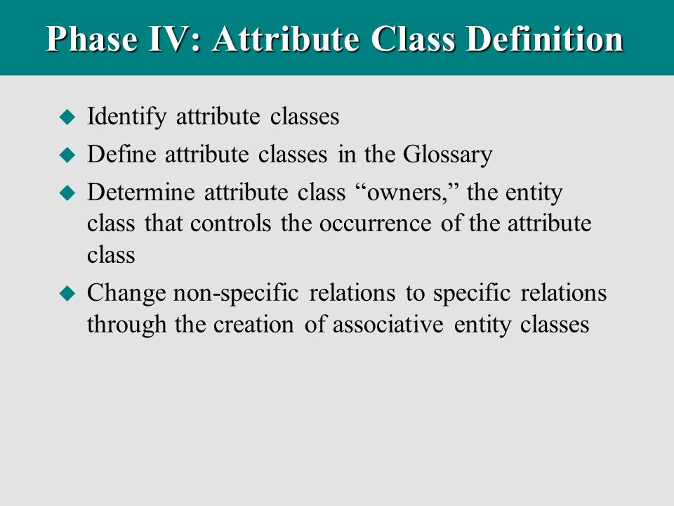 Phase IV: Attribute Class Definition