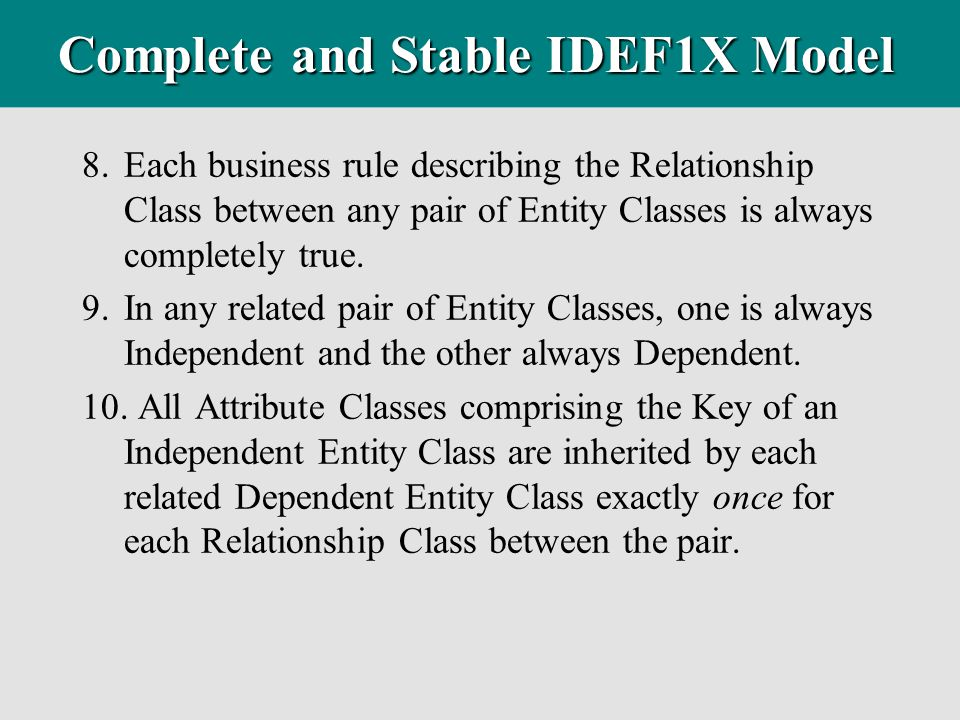Complete and Stable IDEF1X Model