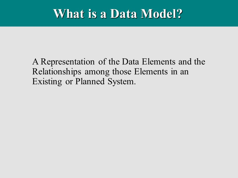 What is a Data Model.