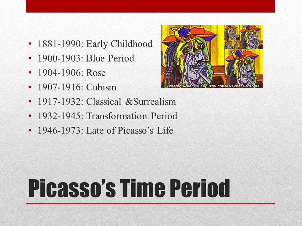 Picasso's Time Period 1881-1990: Early Childhood