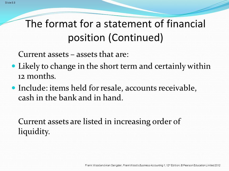 The format for a statement of financial position (Continued)