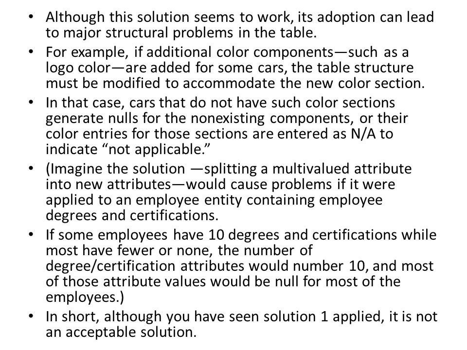 Although this solution seems to work, its adoption can lead to major structural problems in the table.