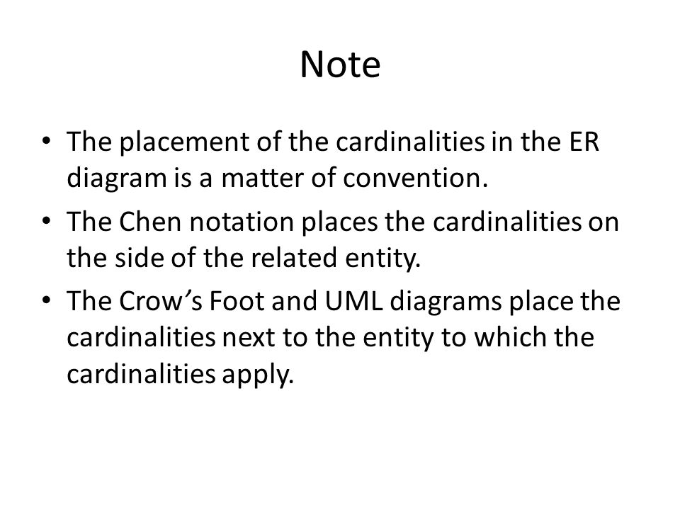 Note The placement of the cardinalities in the ER diagram is a matter of convention.